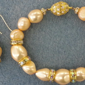 Gold pearls and crystal