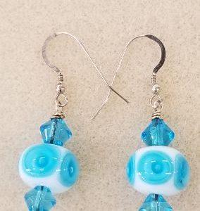 SBO aqua poke earrings