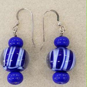 SBO blue white earrings