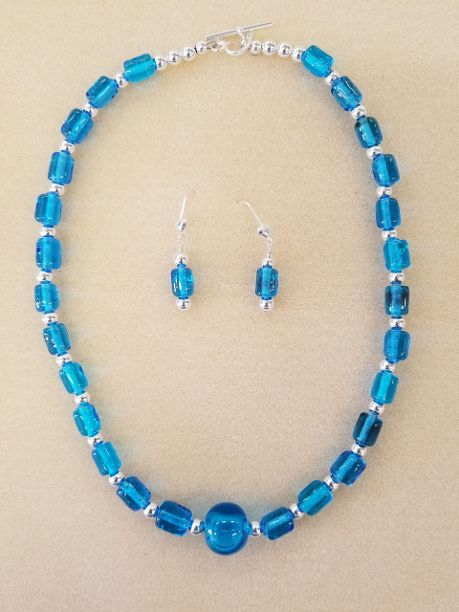 Crystal Blue Necklace Set. Handmade Lampwork beads