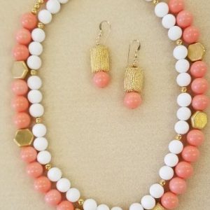 coral white necklace sets