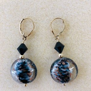 Murano black and clear with copper