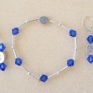 604b blue crystal silver