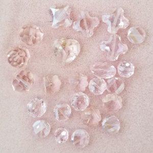 2406 Assort pink glass crystal